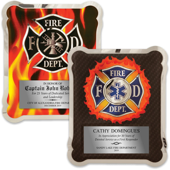 LA Trophies - HERO Firefighter & EMT Stainless Steel Chrome Plated Mirror Edge 10.5x13 Plaque | 2 DESIGNS