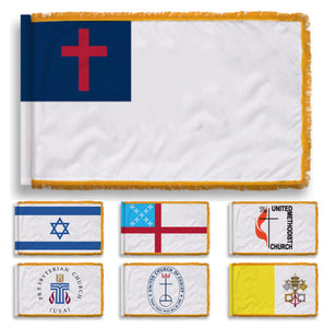 NYLON - Indoor/Parade Religious Flags with Gold Fringe