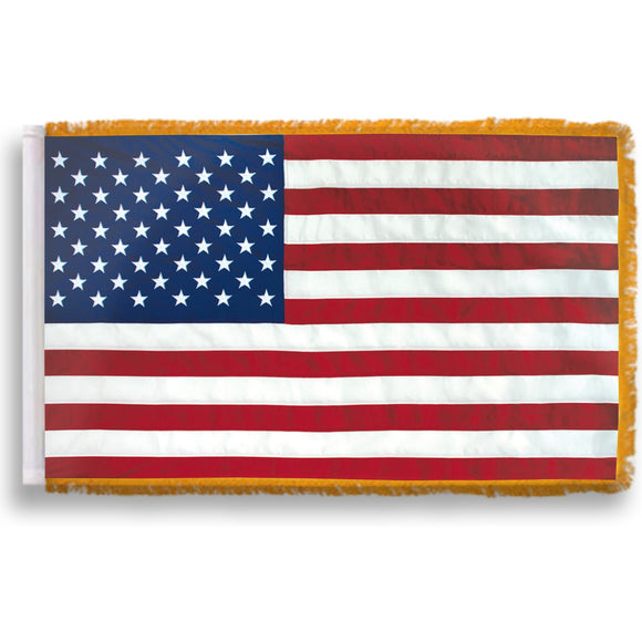 NYLON - Indoor/Parade U.S. American Flags with Gold Fringe