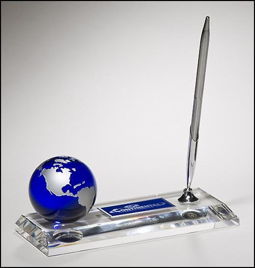 Airflyte Optical Crystal pen set with blue globe and high quality metal pen