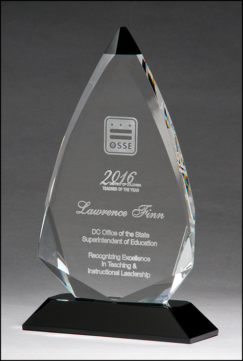 Airflyte Arrow shaped crystal award with black accent on black crystal base | 3 SIZES