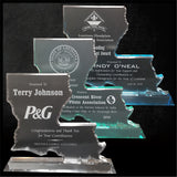 "LA Trophies - Louisiana State Shape 3/4"" thick Beveled Acrylic Award 