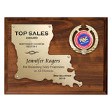 LA Trophies - Louisiana State Shaped Gold Cut-Out 9x12 Plaque on cherry board for Recognition and Service