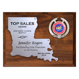 LA Trophies - Louisiana State Shaped Silver Cut-Out 9x12 Plaque on cherry board for Recognition and Service