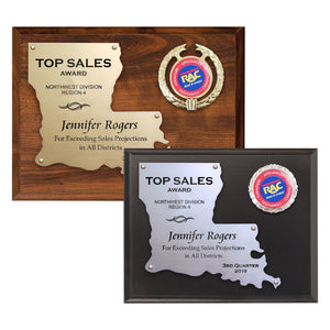 LA Trophies - Louisiana State Shaped Cut-Out Plaque for Recognition and Service | 2 SIZES | 2 PLATE COLORS