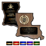 LA Trophies - Louisiana State Shape Plaque for Recognition and Service GOLD Engraving | 2 VERSIONS | 5 PLATE COLORS