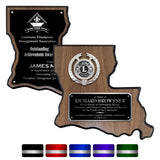 LA Trophies - Louisiana State Shape Plaque for Recognition and Service SILVER ENGRAVING | 2 VERSIONS | 5 PLATE COLORS
