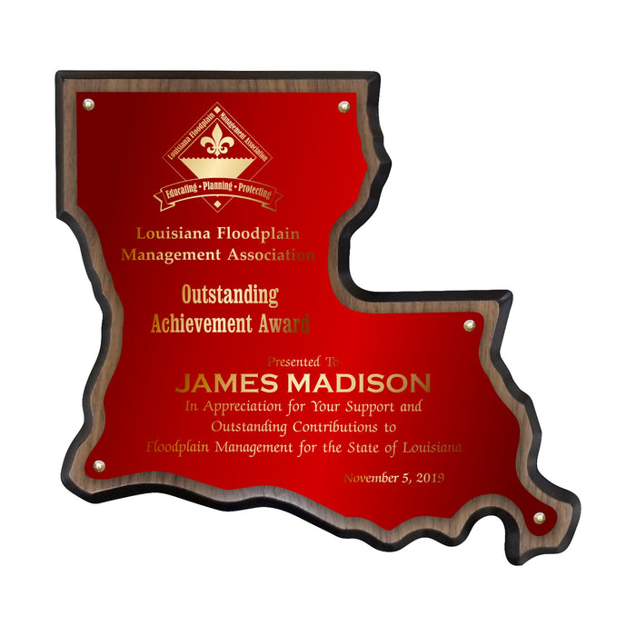 LA Trophies - Louisiana State Shape Plaque red brass full Plate