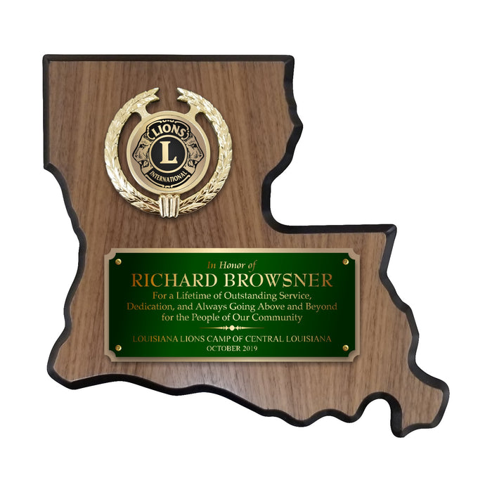 LA Trophies - Louisiana State Shape Plaque green / Gold half Plate with Fancy Emblem Holder