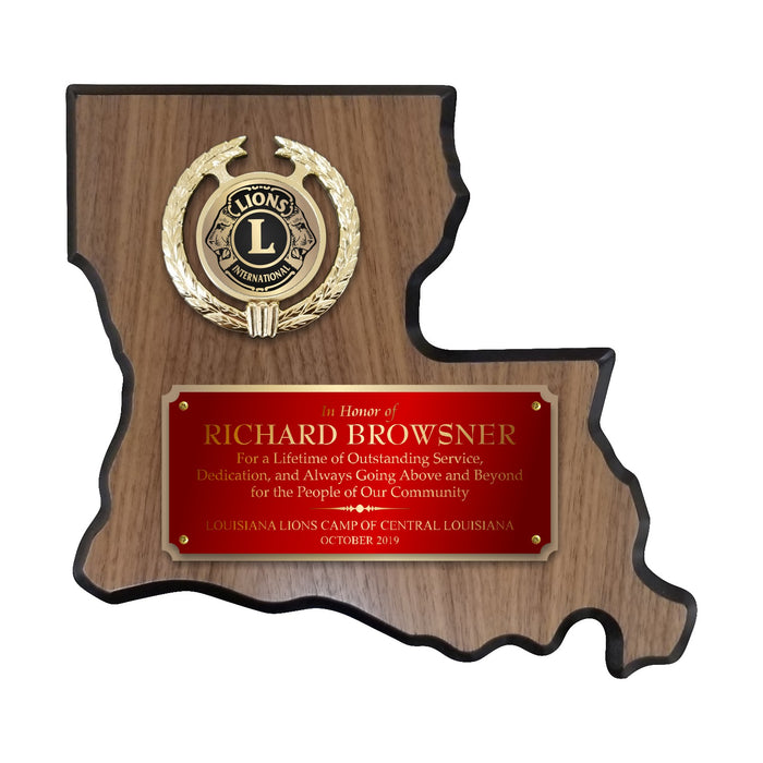 LA Trophies - Louisiana State Shape Plaque red / Gold half Plate with Fancy Emblem Holder