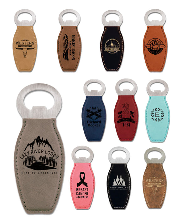 Leatherette Bottle-Shaped Bottle Openers | 11 Colors Available