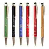 Customizable Ballpoint Pens with Device Stylus and Silver Accents | 6 COLORS
