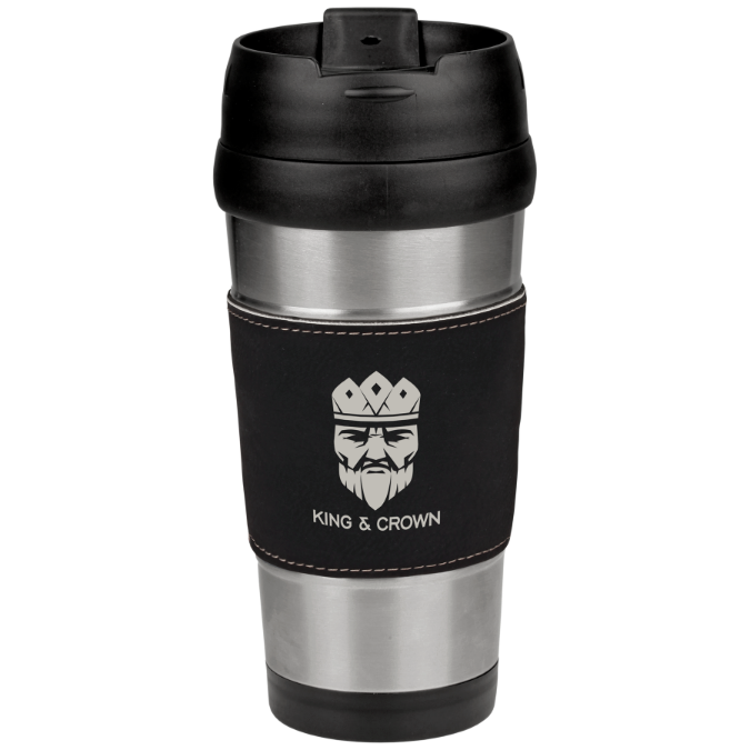 16 oz. Leatherette Grip Travel Mugs | 10 Colors Available