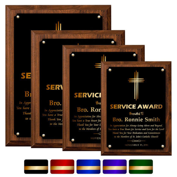 LA Trophies - Religious Christian Award Plaque with GOLD Engraving - 6x8, 7x9, 8x10, 9x12 | 5 PLATE COLORS