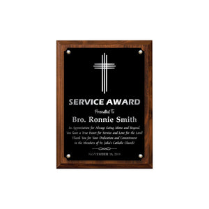 LA Trophies - Religious Christian Award Plaque with SILVER Engraving - 6x8, 7x9, 8x10, 9x12 | 5 PLATE COLORS