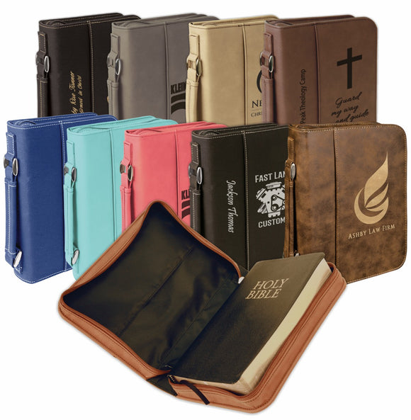 Leatherette Zipper Bible Book Cover 2 SIZES | Personalized and Engraved