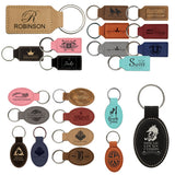 Customizable Leather Key Chain - Squared/Rounded | 11 Colors Available