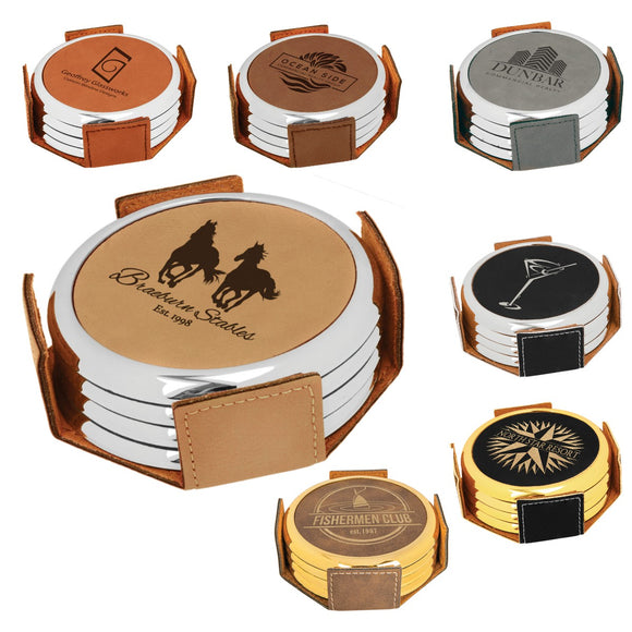 Leatherette Round Metallic Edge Laser Engraved 4-Coaster Sets | 7 COLORS