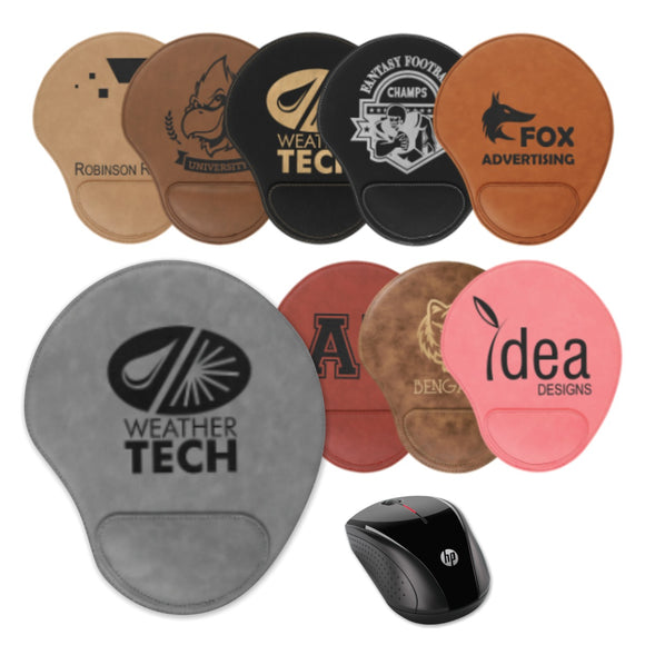 Leatherette Mouse Pads with wrist cushion | 10 COLORS