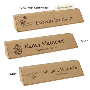 LA Trophies - Leatherette Desk Wedge Nameblocks | 3 OPTIONS | 5 COLORS