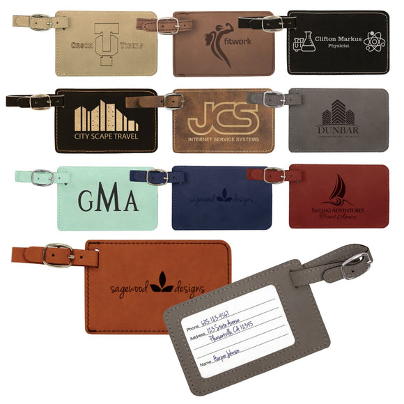 Customizable Leatherette Luggage Tags | 11 COLORS