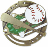 "2-3/4"" M3XL Enamel Filled Baseball Medals on 1-1/2"" Wide Neck Ribbons"