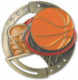 "2-3/4"" M3XL Enamel Filled Basketball Medals on 1-1/2"" Wide Neck Ribbons"