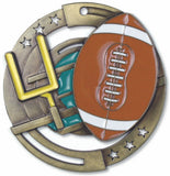 "2-3/4"" M3XL Enamel Filled Football Medals on 1-1/2"" Wide Neck Ribbons"