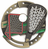 "2-3/4"" M3XL Enamel Filled Lacrosse Medals on 1-1/2"" Wide Neck Ribbons"