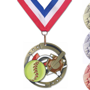 "2-3/4"" M3XL Enamel Filled Medals on 1-1/2"" Wide Neck Ribbons 