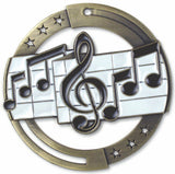 "2-3/4"" M3XL Enamel Filled Music Medals on 1-1/2"" Wide Neck Ribbons"