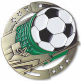 "2-3/4"" M3XL Enamel Filled Soccer Medals on 1-1/2"" Wide Neck Ribbons"