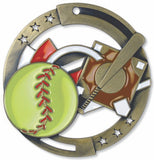 "2-3/4"" M3XL Enamel Filled Softball Medals on 1-1/2"" Wide Neck Ribbons"
