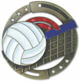"2-3/4"" M3XL Enamel Filled Volleyball Medals on 1-1/2"" Wide Neck Ribbons"