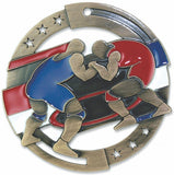 "2-3/4"" M3XL Enamel Filled Wrestling Medals on 1-1/2"" Wide Neck Ribbons"