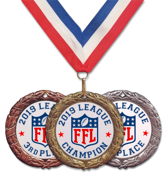 fantasy football league ranking placing medals medallions champion 1st 2nd 3rd first second third place red white blue ribbon neck