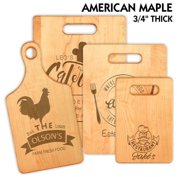 Customizable American Maple Cutting Board | 4 SIZES