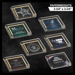 "LA Trophies - 3-3/4"" x 3-3/4"" x 3/4"" thick Beveled Acrylic Marble Paperweights 
