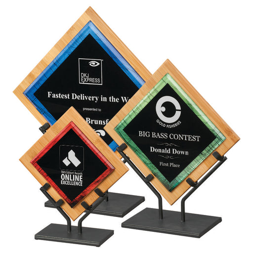 Premier - Galaxy Acrylic and Bamboo Plaques in Black Iron Stand | 3 SIZES | 3 COLORS