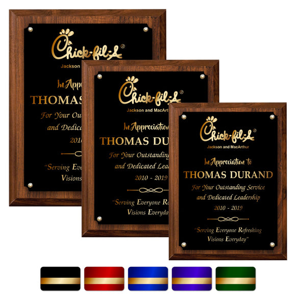 LA Trophies - Medium Size Plaques with Solid Color Plate and GOLD Engraving - 6x8, 7x9, 8x10 | 5 PLATE COLORS