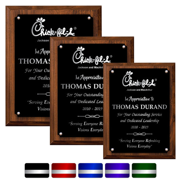 LA Trophies - Medium Size Plaques with Solid Color Plate and SILVER Engraving - 6x8, 7x9, 8x10 | 5 PLATE COLORS