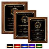 LA Trophies - Medium Size Plaques with Solid Color Plate with Gold Accent and GOLD Engraving - 6x8, 7x9, 8x10 | 5 PLATE COLORS