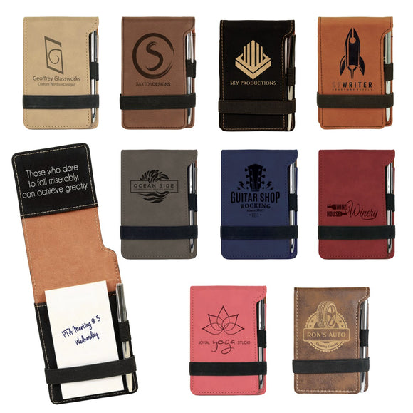Customizable Leatherette Mini Note Pads with Pen | 11 COLORS