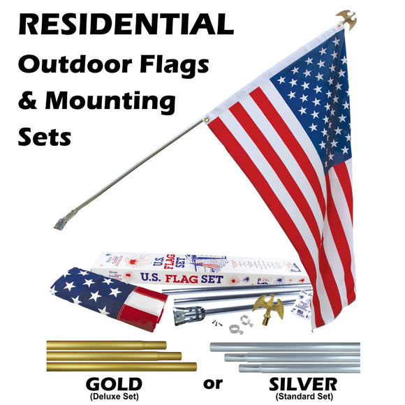 ENDURA-NYLON - 3' x 5' Outdoor Flag Mounting Sets Gold and Silver Poles