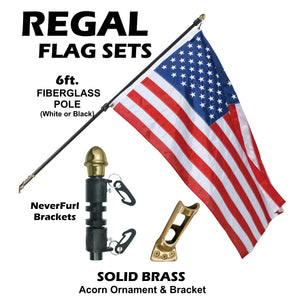 ENDURA-NYLON - 3' x 5' Outdoor REGAL NEVER FURL Flag Sets in White or Black