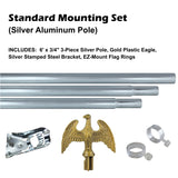 Standard Silver Outdoor 3' x 5' Flag Mounting Set