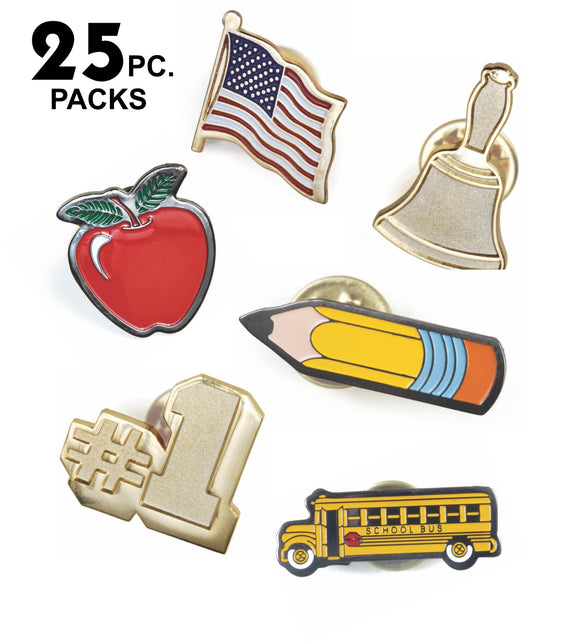 Die Struck Enamel Filled Novelty Lapel Pins - 25 PIECE PACKS | 6 STYLES