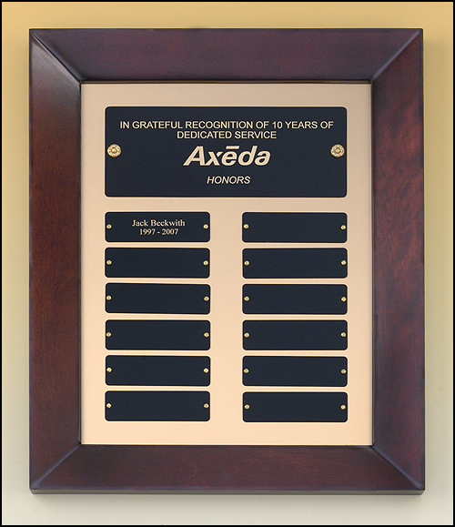 Airflyte Cherry finish frame Perpetual Plaque with 12 Black Brass plates on brushed metal gold background