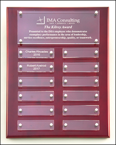 Airflyte Rosewood High Gloss Perpetual Plaque with 12 Acrylic Engraving Plates