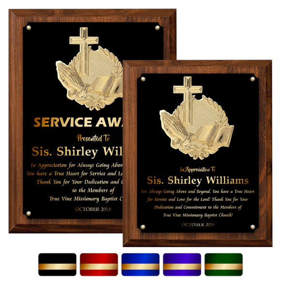 LA Trophies - Religious Christian Award Plaque with GOLD Engraving and 3D Praying Hands Relief - 8x10, 9x12 | 5 PLATE COLORS